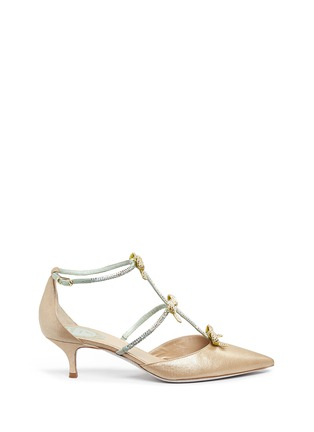 Main View - Click To Enlarge - René Caovilla - Strass pavé satin bow suede pumps