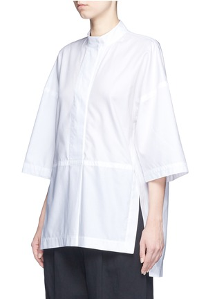 Front View - Click To Enlarge - Victor Alfaro - Diagonal stripe drop shoulder tunic shirt