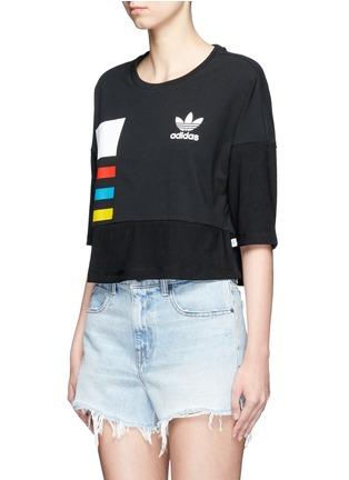 Front View - Click To Enlarge - Adidas - Colourblock stripe print cropped T-shirt