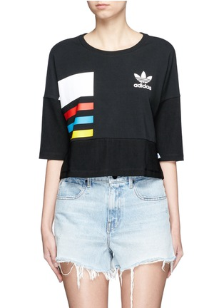 Main View - Click To Enlarge - Adidas - Colourblock stripe print cropped T-shirt