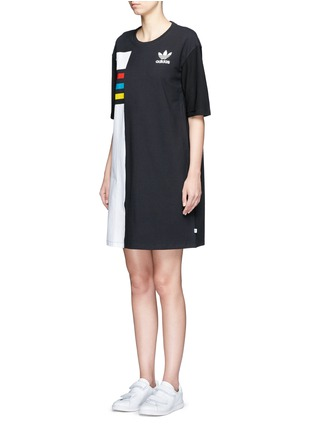 Front View - Click To Enlarge - Adidas - Colourblock stripe print dress