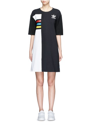 Main View - Click To Enlarge - Adidas - Colourblock stripe print dress
