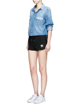 Figure View - Click To Enlarge - Adidas - Drawstring jacquard running shorts