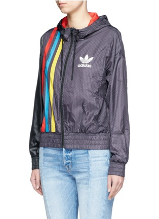 Front View - Click To Enlarge - Adidas - Retro stripe print windbreaker jacket