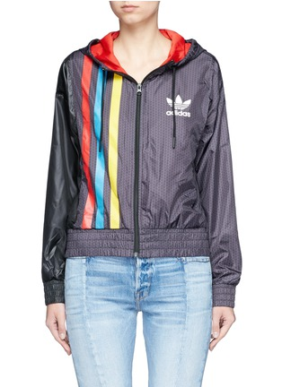 Main View - Click To Enlarge - Adidas - Retro stripe print windbreaker jacket