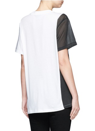 Back View - Click To Enlarge - Adidas - Mesh panel colourblock stripe T-shirt