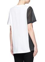 Mesh panel colourblock stripe T-shirt