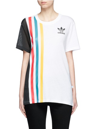 Main View - Click To Enlarge - Adidas - Mesh panel colourblock stripe T-shirt