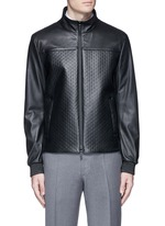 Diamond embossed leather jacket