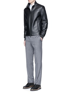 Armani Collezioni Diamond embossed leather jacket