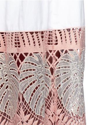 细节 - 点击放大 - TEMPERLEY LONDON - CLARA叶片刺绣镂空纯棉连衣裙