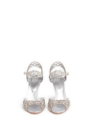 正面 -点击放大 - SERGIO ROSSI - 仿水晶绒面皮尖头高跟凉鞋
