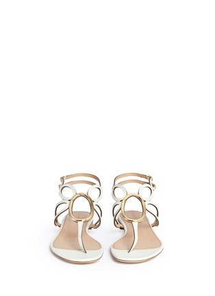 Front View - Click To Enlarge - SERGIO ROSSI - 'Farrah' oval hardware caged leather sandals