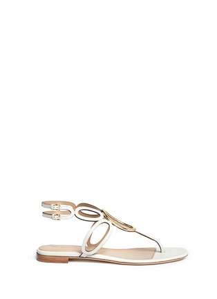 Main View - Click To Enlarge - SERGIO ROSSI - 'Farrah' oval hardware caged leather sandals