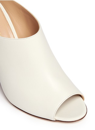 Detail View - Click To Enlarge - SERGIO ROSSI - Wooden heel peep toe leather mules
