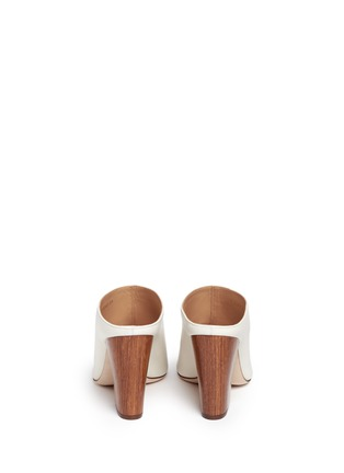 Back View - Click To Enlarge - SERGIO ROSSI - Wooden heel peep toe leather mules