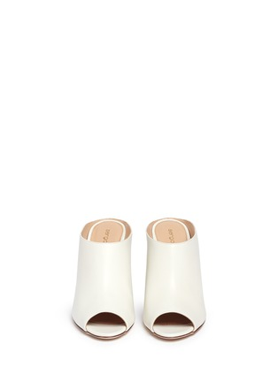 Front View - Click To Enlarge - SERGIO ROSSI - Wooden heel peep toe leather mules