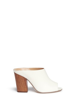 Main View - Click To Enlarge - SERGIO ROSSI - Wooden heel peep toe leather mules