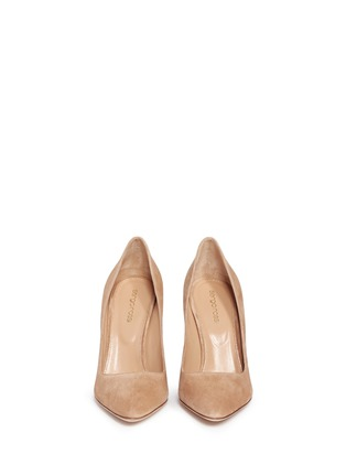 Front View - Click To Enlarge - SERGIO ROSSI - 'Scarlett' chunky heel suede pumps