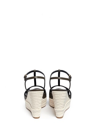 Back View - Click To Enlarge - SERGIO ROSSI - 'Edwige' leather espadrille wedge sandals