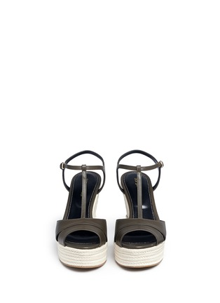 Front View - Click To Enlarge - SERGIO ROSSI - 'Edwige' leather espadrille wedge sandals