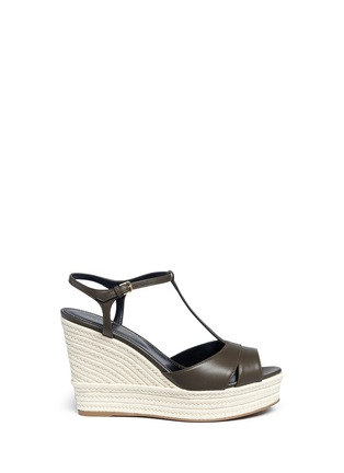 Main View - Click To Enlarge - SERGIO ROSSI - 'Edwige' leather espadrille wedge sandals