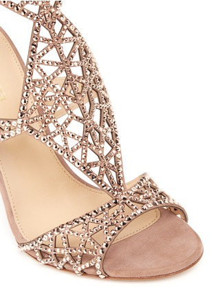 Detail View - Click To Enlarge - SERGIO ROSSI - 'Tresor' crystal pavé cutout suede sandals
