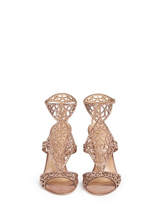 Front View - Click To Enlarge - SERGIO ROSSI - 'Tresor' crystal pavé cutout suede sandals