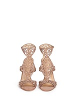 'Tresor' crystal pavé cutout suede sandals