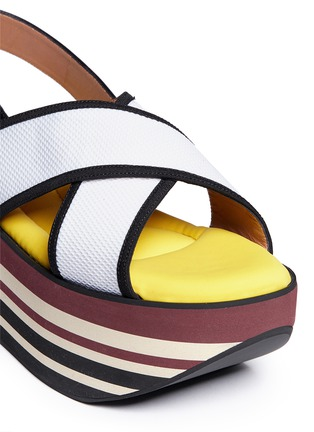 Detail View - Click To Enlarge - Marni - 'Zeppa' stripe platform plonge mesh sandals