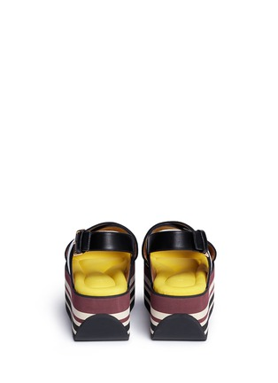 Back View - Click To Enlarge - Marni - 'Zeppa' stripe platform plonge mesh sandals