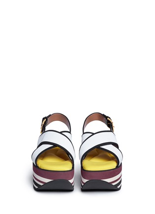 Front View - Click To Enlarge - Marni - 'Zeppa' stripe platform plonge mesh sandals