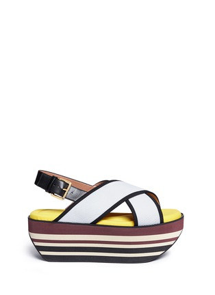 Main View - Click To Enlarge - Marni - 'Zeppa' stripe platform plonge mesh sandals