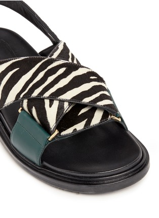 Detail View - Click To Enlarge - Marni - 'Fussbett' zebra print calfhair leather sandals