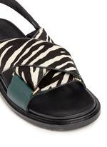 'Fussbett' zebra print calfhair leather sandals