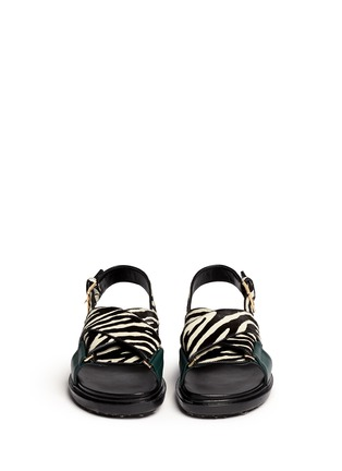 Front View - Click To Enlarge - Marni - 'Fussbett' zebra print calfhair leather sandals