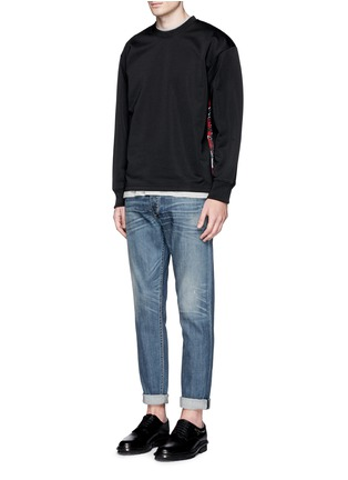 Figure View - Click To Enlarge - McQ Alexander McQueen - Oversized floral logo stripe sweatshirt