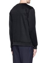 Mesh front logo print sweatshirt