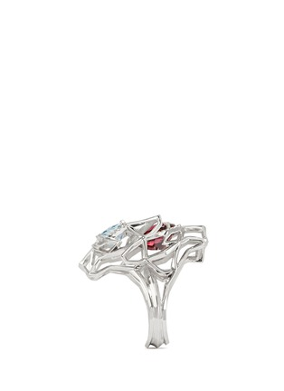 Back View - Click To Enlarge - Xin London - 'Shan Shi' diamond gemstone 18k white gold double lion head ring