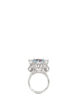 Main View - Click To Enlarge - Xin London - 'Shan Shi' diamond gemstone 18k white gold double lion head ring