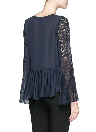 Back View - Click To Enlarge - Elizabeth and James - 'Lija' floral guipure lace silk blouse