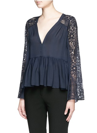 Front View - Click To Enlarge - Elizabeth and James - 'Lija' floral guipure lace silk blouse