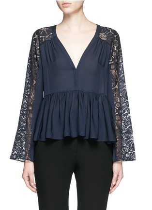 Main View - Click To Enlarge - Elizabeth and James - 'Lija' floral guipure lace silk blouse