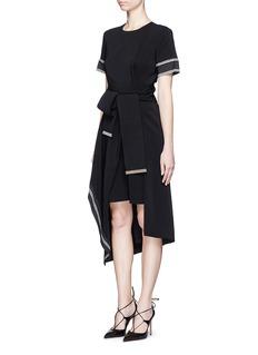 PREEN BY THORNTON BREGAZZI'Nila' stripe edge belted asymmetric dress