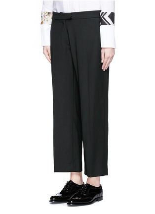 Front View - Click To Enlarge - PREEN BY THORNTON BREGAZZI - 'Terry' lace-up back cropped pants