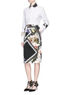 PREEN BY THORNTON BREGAZZI'Nour' floral border print cotton pencil skirt