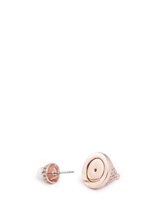 Detail View - Click To Enlarge - Eddie Borgo - Crystal pavé cone pearl stud earrings