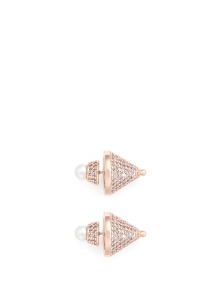 Main View - Click To Enlarge - Eddie Borgo - Crystal pavé cone pearl stud earrings