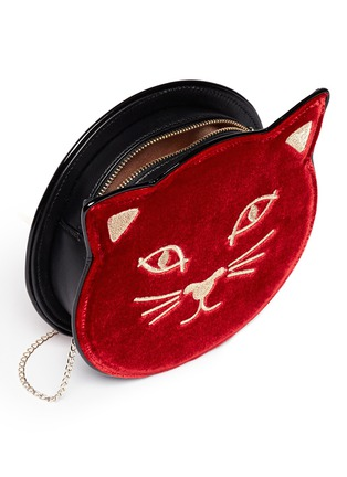 Detail View - Click To Enlarge - Charlotte Olympia - 'Pussycat Purse' velvet crossbody bag