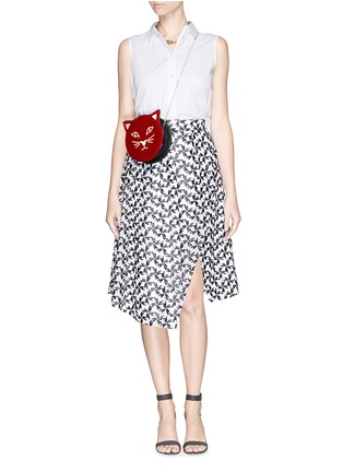 Figure View - Click To Enlarge - Charlotte Olympia - 'Pussycat Purse' velvet crossbody bag